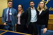 Rome jan 19th 2016, press conference to present the proposal to set up a commission of inquiry on the subject of ill-treatment and abuse of persons in conditions of deprivation or limitation of personal freedom. In the picture Fabio Anselmo, Ilaria Cucchi, Nicola Fratoianni, Celeste Costantino
