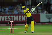 Fidel Edwards of Hampshire hits a six during the Vitality T20 Blast South Group match between Middlesex County Cricket Club and Hampshire County Cricket Club at Lord's Cricket Ground, St John's Wood, United Kingdom on 26 July 2018. Picture by Dave Vokes.