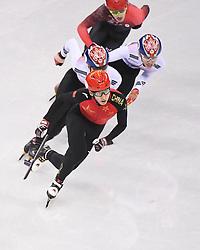 PYEONGCHANG, Feb. 22, 2018  Wu Dajing (front) of China competes during men's 500m final of short track speed skating at the 2018 PyeongChang Winter Olympic Games at Gangneung Ice Arena, Gangneung, South Korea, Feb. 22, 2018. Wu Dajing claimed gold medal in a time of 0:39.584 and set new world record. (Credit Image: © Wang Haofei/Xinhua via ZUMA Wire)