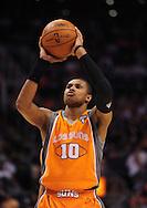 Mar. 26 2010; Phoenix, AZ, USA; Phoenix Suns guard Leandro Barbosa (10) shots a free throw second half at the US Airways Center.  The Suns defeated the Knicks 132-96.  Mandatory Credit: Jennifer Stewart-US PRESSWIRE.