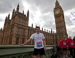 © Licensed to London News Pictures. 16/04/2012. London, U.K..Edward Timpson, Conservative MP. .Shadow Chancellor Ed Balls and MPs Edward Timpson, Alun Cairns, Graham Evans, Chris Kelly, Phillip Lee, and Jack Lopresti  in their running kit ahead of Sunday's London Marathon..Photo credit : Rich Bowen/LNP