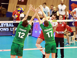 June 16, 2018 - Varna, Bulgaria - from left Viktor YOSIFOV (Bulgaria), Nikolay PENCHEV (Bulgaria), Jason DEROCCO (Canada), .mens Volleyball Nations League,week 4, Bulgaria vs Canada, Palace of culture and sport, Varna/Bulgaria, June 16, 2018, the fourth of 5 weekends of the preliminary lap in the new established mens Volleyball Nationas League takes place in Varna/Bulgaria. (Credit Image: © Wolfgang Fehrmann via ZUMA Wire)