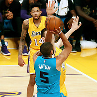28 February 2017: Charlotte Hornets guard Nicolas Batum (5) takes a jump shot over Los Angeles Lakers center Ivica Zubac (40) during the Charlotte Hornets 109-104 victory over the LA Lakers, at the Staples Center, Los Angeles, California, USA.