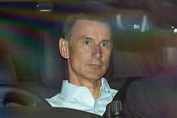 © Licensed to London News Pictures. 19/06/2019. London, UK. Foreign Secretary Jeremy Hunt, who is running to become Leader of the Conservative Party and the next Prime Minister, is seen leaving Parliament after the results of the third round of the leadership contest. Rory Stewart MP has been voted out of the race. Photo credit: Rob Pinney/LNP