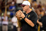TEMPE, AZ - SEPTEMBER 24:  Defensive coordinator Keith Patterson of the Arizona State Sun Devils runs drills prior to the game against the California Golden Bears at Sun Devil Stadium on September 24, 2016 in Tempe, Arizona. The Sun Devils won 51-41.  (Photo by Jennifer Stewart/Getty Images)