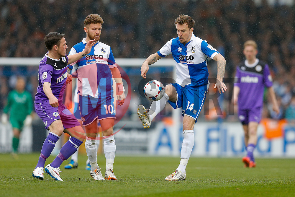 Chris Lines of Bristol Rovers is challenged by John Rooney of Chester - Photo mandatory by-line: Rogan Thomson/JMP - 07966 386802 - 03/04/2015 - SPORT - FOOTBALL - Bristol, England - Memorial Stadium - Bristol Rovers v Chester - Vanarama Conference Premier.