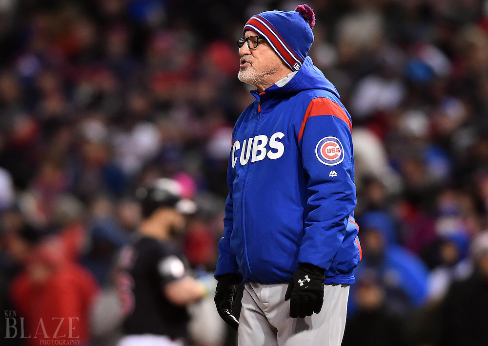 Oct 26, 2016; Cleveland, OH, USA; Chicago Cubs manager Joe Maddon makes a pitching change against the Cleveland Indians in the 6th inning in game two of the 2016 World Series at Progressive Field. Mandatory Credit: Ken Blaze-USA TODAY Sports