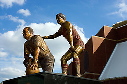 19 September 2009: A statue created from a photograph was sculpted by Lou Cella depicts coach Will Robinson and Doug Collins. Illinois State University took the day to celebrate 2 of it's own, the late Will Robinson and national hero Doug Collins.  Will Robinson became the first black head basketball coach in NCAA Division I history when names ISU basketball coach in 1970.  Doug Collins was an Illinois State standout basketball player who represented the United States in the 1972 Olympics, played NBA ball for several years where he later coached and recently recieved the Curt Gowdy Media Award for career in broadcasting.  A statue was erected in their honor on the terrace just north of the main entrance to Redbird Arena on ISU's campus in Normal IL