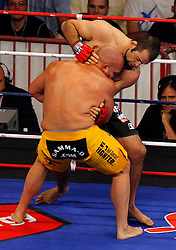 August 2, 2007; East Rutherford, NJ, USA; The Silverbacks Mike Ciesnolevicz (Yellow Trunks) defeats the Anacondas Alex Schoenauer (Green Trunks) via split decision in their 205lb semifinal bout at the Continental Airlines Arena in East Rutherford, NJ.