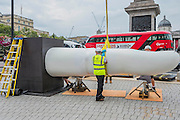 """The first finger is manouvered to be bolted on to its weighted plinth - The installation of Mexican artist Rivelino's 25-ton, 14.5 meter long sculpture You, in King Charles Island in Trafalgar Square. It is the first in a series of high-profile unveilings of contemporary Mexican sculpture across the capital this September, coinciding with the celebratory Dual Year of UK and Mexico 2015 (mexicouk2015.mx). In this case  """"two index fingers, equal in weight, colour and size point towards each other in commanding fashion. Intended as a reflection on human equality, the two pointing fingers are seen from afar as distinct entities; but through engaging in the intervening space between the fingers, the viewer opens up a dialogue of inclusivity. """""""