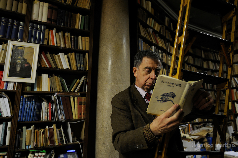 Mario Cerne, owner of Umberto Saba antiquary bookshop. Umberto Saba was the pseudonym of Triestin poet and novelist Umberto Poli. His creative work was hampered by a life-long struggle with mental illness. The bookshop opened in 1914 and Saba buyed this bookshop on 1919. Mario Cerne is the son of Carlo, Saba's associate and owner at poet's death on 1957.