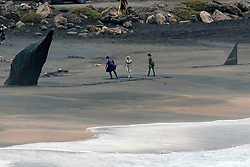 EXCLUSIVE: Angelina Jolie wears a blonde wig and tight gold suit as she films The Eternals with Gemma Chan and Brian Tyree Henry on the beach in Fuerteventura, Canary Islands. The Marvel superhero movie also stars Selma Hayak, Kit Harington and Richard Madden. 06 Nov 2019 Pictured: Angelina Jolie, Gemma Chan, Brian Tyree Henry. Photo credit: MEGA TheMegaAgency.com +1 888 505 6342