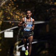 NYTRUN - NOV. 6, 2016 - NEW YORK - Ghirmay Ghebreslassie, who went on to win the men's race in   2:07:51, runs south along 5th Avenue, just north of E 90th Street, as he competes in the 2016 TCS New York City Marathon on Sunday. NYTCREDIT:  Karsten Moran for The New York Times **PLS CHECK FINISH PLACE AND TIMES