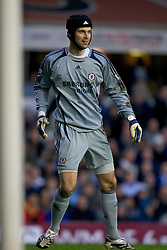 BIRMINGHAM, ENGLAND - Tuesday, December 4, 2007: Chelsea's goalkeeper Petr Cech looks relieved after kicking the ball against a Birmingham City player almost resulting in an embarrassing goal during the Premiership match at St Andrews. (Photo by David Rawcliffe/Propaganda)