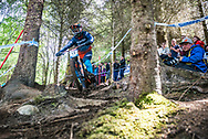 Brendan Fairclough chops through the trees during his Qualifying Run at the UCI Mountain Bike World Cup in Fort William.