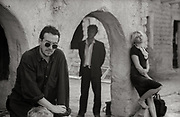 Elvis Costello, Joe Strummer and Cortney Love on the set of Straight to Hell - Almaria Spain 1986