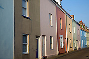 Colourful terraced housing, St Peter Port, Guernsey, Channel Islands, UK