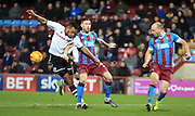 Rhys Bennett, Jack King during the Sky Bet League 1 match between Scunthorpe United and Rochdale at Glanford Park, Scunthorpe, England on 28 December 2015. Photo by Daniel Youngs.
