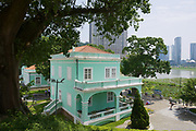 Macau, China - September 12, 2013: Exterior of the traditional Portuguese house in Taipa village in Macau, China.
