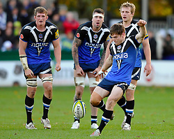 Bath Fly-Half (#10) Tom Heathcote kicks a penalty for touch during the second half of the match - Photo mandatory by-line: Rogan Thomson/JMP - Tel: Mobile: 07966 386802 09/11/2012 - SPORT - RUGBY - The Recreation Ground - Bath. Bath v Newport Gwent Dragons  - LV= Cup