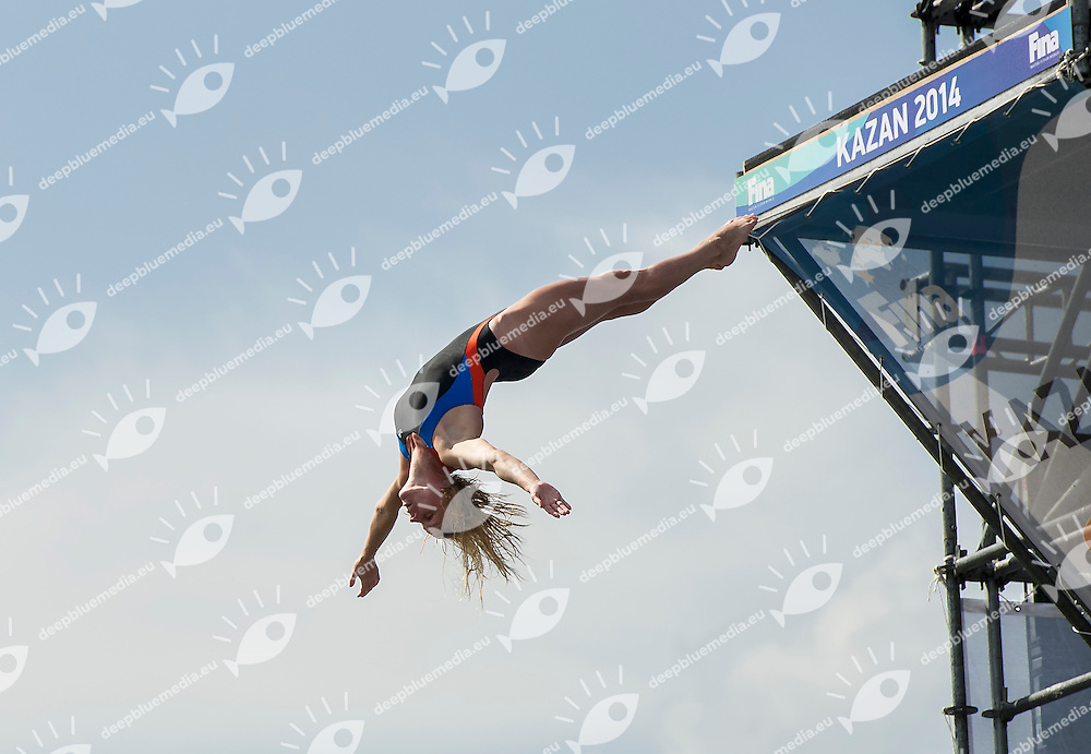 Diana Tomilina Ukr<br /> Women Competition <br /> FINA High Diving World Cup 2014<br /> Kazan Tatartsan Russsia RUS Aug. 8 to 10 2014<br /> Kazanka River  Day02 - Aug.9 <br /> Photo G. Scala/Deepbluemedia