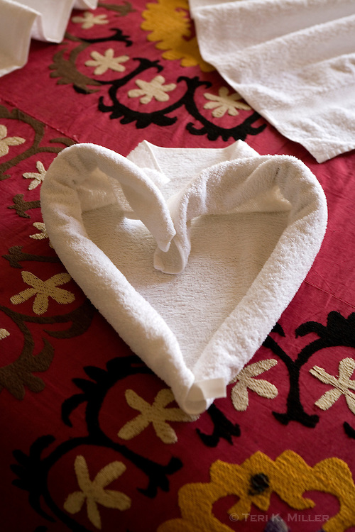 Towels folded into a heart shape at Hotel Karballa, Guzelyurt, Turkey