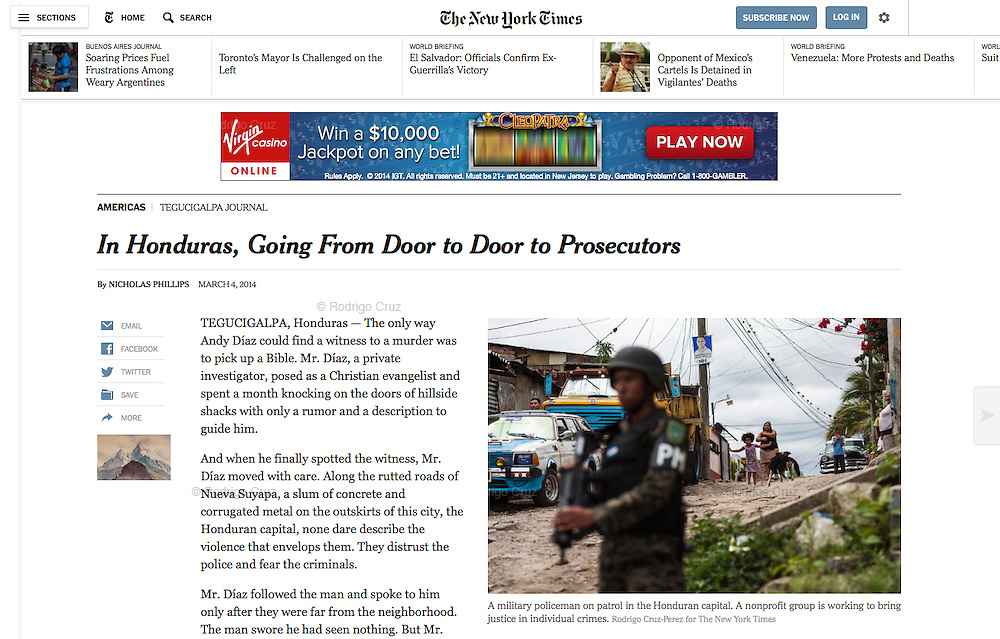 """In Honduras, Going From Door to Door to Prosecutors"", The New York Times, Mexico, March 4, 2014. Photographs by Rodrigo Cruz."