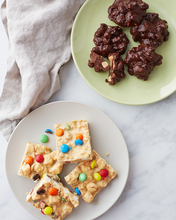 Cashew Chocolate Clusters and Crispy Peanut Butter Candy with M&Ms