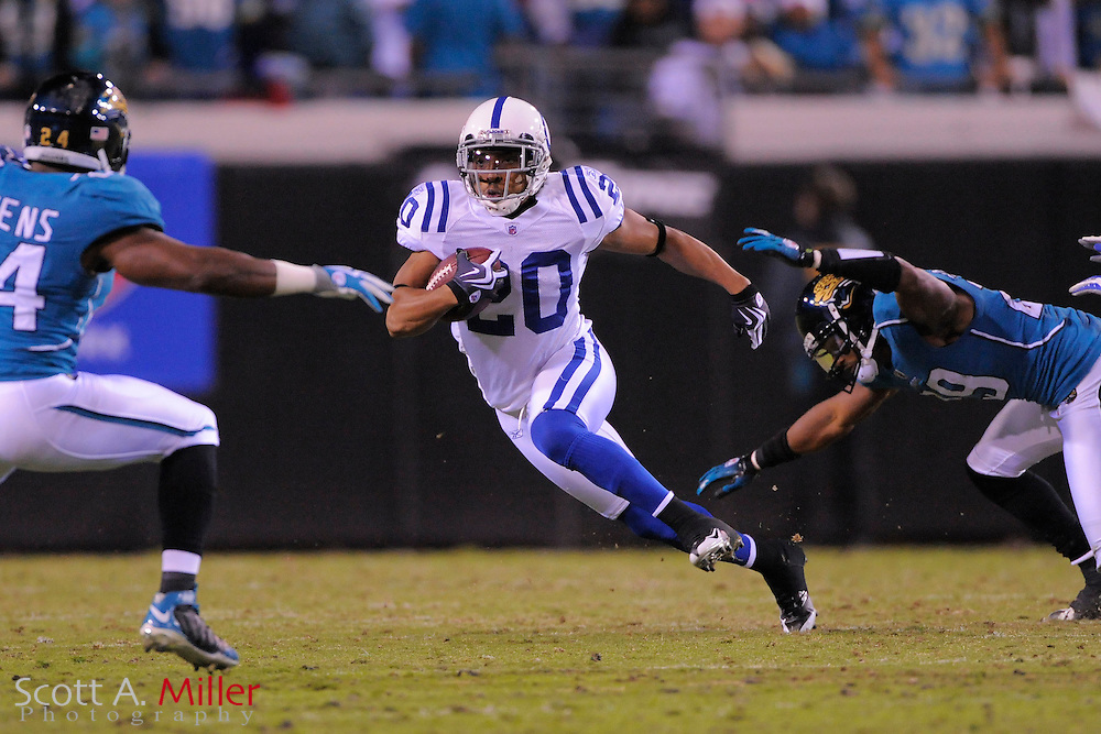 Dec. 17, 2009; Jacksonville, FL, USA; Indianapolis Colts safety T.J. Rushing (20) in action against the Jacksonville Jaguars at Jacksonville Municipal Stadium. The Colts won. 35-31. ©2009 Scott A. Miller.© 2009 Scott A. Miller