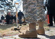 DOYLESTOWN, PA - MARCH 24:  Robert Bray, US Army from Kansas City, Missouri stands near a shovel used during the Groundbreaking for the Global War on Terrorism memorial March 24, 2014 in Doylestown, Pennsylvania. (Photo by William Thomas Cain/Cain Images)