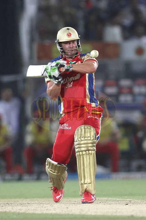 AB de Villiers of the Royal Challengers Bangalore attempts to pull a delivery during match 30 of the the Indian Premier League (IPL) 2012  between The Rajasthan Royals and the Royal Challengers Bangalore held at the Sawai Mansingh Stadium in Jaipur on the 23rd April 2012..Photo by Shaun Roy/IPL/SPORTZPICS