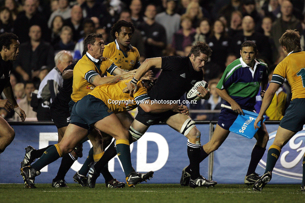 Richie McCaw in action during the Tri Nations Bledisloe Cup match between the All Blacks and Australia at Eden Park, Auckland, New Zealand on Saturday 3 September, 2005. The All Blacks defeated the Wallabies 34-24 to retain the Bledisloe Cup and win the Tri Nations. Photo:Andrew Cornaga/PHOTOSPORT<br />