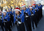 Members of the Council Rock North Marching band participate in the Newtown Holiday Parade Sunday December 6, 2015 in Newtown, Pennsylvania. (Photo by William Thomas Cain)