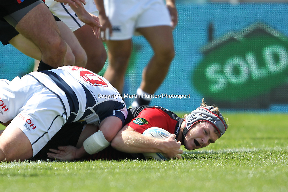 Tyler Bleyendaal of Canterbury dives over to score a try during the ITM Cup Premiership Semi Final between Canterbury and Auckland at AMI Stadium on October 19, 2013 in Christchurch, New Zealand. Photo: Martin Hunter/www.photosport.co.nz