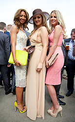 LIVERPOOL, ENGLAND - Friday, April 4, 2014: Kayleigh Williams, Claire Bryan and Jessica Galvin during Ladies' Day on Day Two of the Aintree Grand National Festival at Aintree Racecourse. (Pic by David Rawcliffe/Propaganda)