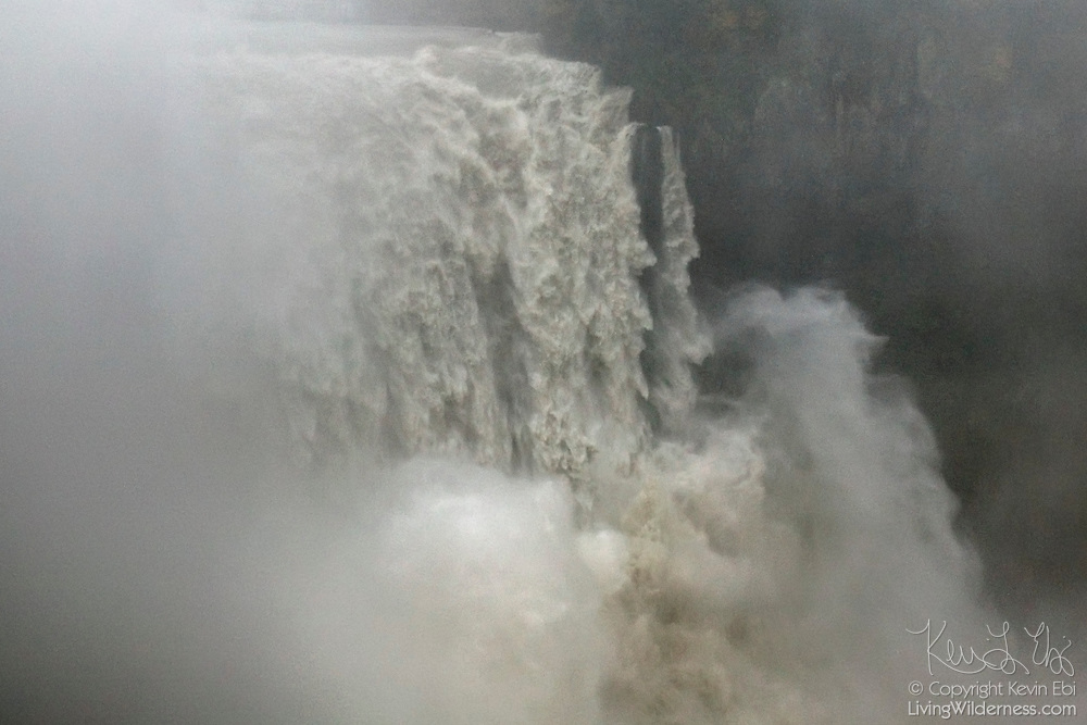 More than 16 times the typical flow of water gushes over Snoqulamie Falls in Washington state during a November 2006 flood.