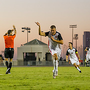 09 September 2018: San Diego State midfielder<br /> Emil Kjellker (6) celebrates after scoring the game winning goal against UC Irvine in overtime to push the Aztecs past the Anteaters 2-1 Sunday afternoon at the SDSU Sports Deck.