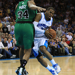 11 February 2009: New Orleans Hornets guard Chris Paul (3) drives past Boston Celtics forward Paul Pierce (34) during a 89-77 loss by the New Orleans Hornets to the Boston Celtics at the New Orleans Arena in New Orleans, LA.