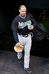 July 26, 2010; San Francisco, CA, USA;  Florida Marlins catcher Ronny Paulino (29) before the game against the San Francisco Giants at AT&T Park.  Florida defeated San Francisco 4-3.