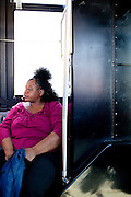 Patricia Buckner rides a CTRAN bus on March 31, 2010 marked Clayton County, Georgia's last day of the county's public bus system, CTRAN, running.