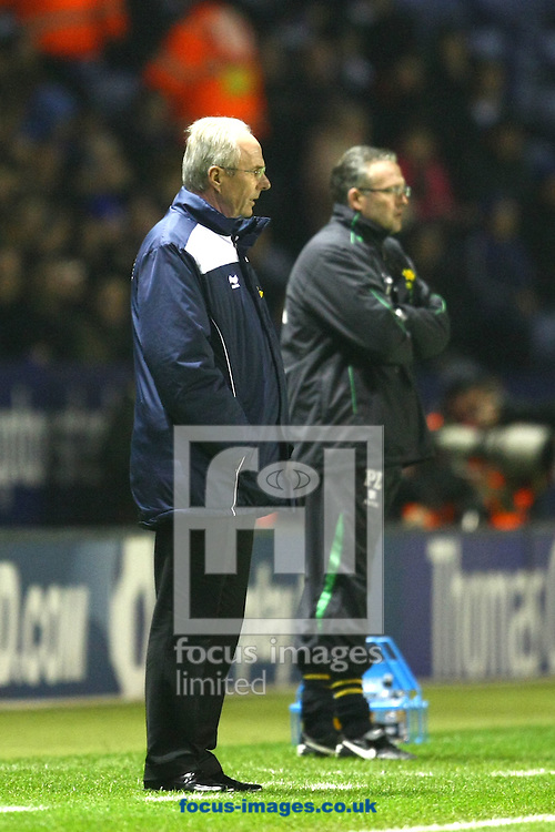 Leicester - Tuesday March 8th, 2011: Norwich Manager Paul Lambert and Leicester Manager Sven-Goran Eriksson during the Npower Championship match at The Walkers Stadium, Leicester. (Pic by Paul Chesterton/Focus Images)