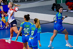 02-12-2019 JAP: Slovenia - Norway, Kumamoto<br /> Second day 24th IHF Womenís Handball World Championship, Slovenia lost the second match against Norway with 20 - 36. / Nina Zulic #18 of Slovenia, Marit Rosberg Jacobsen #20 of Norway