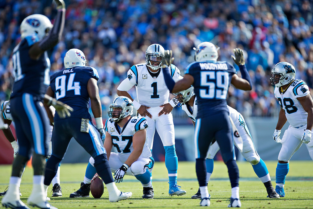 NASHVILLE, TN - NOVEMBER 15:  Cam Newton #1 of the Carolina Panthers signals the next play during a game against the Tennessee Titans at Nissan Stadium on November 15, 2015 in Nashville, Tennessee.  (Photo by Wesley Hitt/Getty Images) *** Local Caption *** Cam Newton