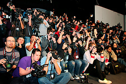 UK ENGLAND LONDON 13FEB07 - Photographers crowd at the end of a catwalk during London Fashion Week at the main site next to the Natural History Museum, Kensington, central London...jre/Photo by Jiri Rezac..© Jiri Rezac 2007..Contact: +44 (0) 7050 110 417.Mobile:  +44 (0) 7801 337 683.Office:  +44 (0) 20 8968 9635..Email:   jiri@jirirezac.com.Web:    www.jirirezac.com..© All images Jiri Rezac 2007 - All rights reserved.