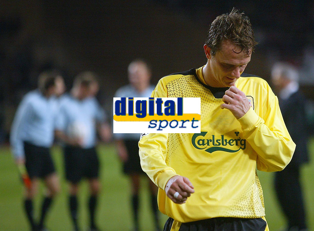 23/11/2004 - UEFA Champions League - Group A - AS Monaco v Liverpool  - Stade Louis II, Monte Carlo<br />Liverpool's Dietmar Hamann walks off the pitch ahead of the group of three match officials<br />Photo:Jed Leicester/Back Page Images