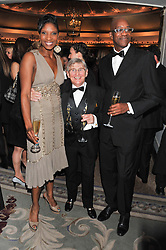 Left to right, DENISE LEWIS, WILLIE CARSON and EDWIN MOSES at the 22nd Cartier Racing Awards held at The Dorchester, Park Lane, London on 13th November 2012.