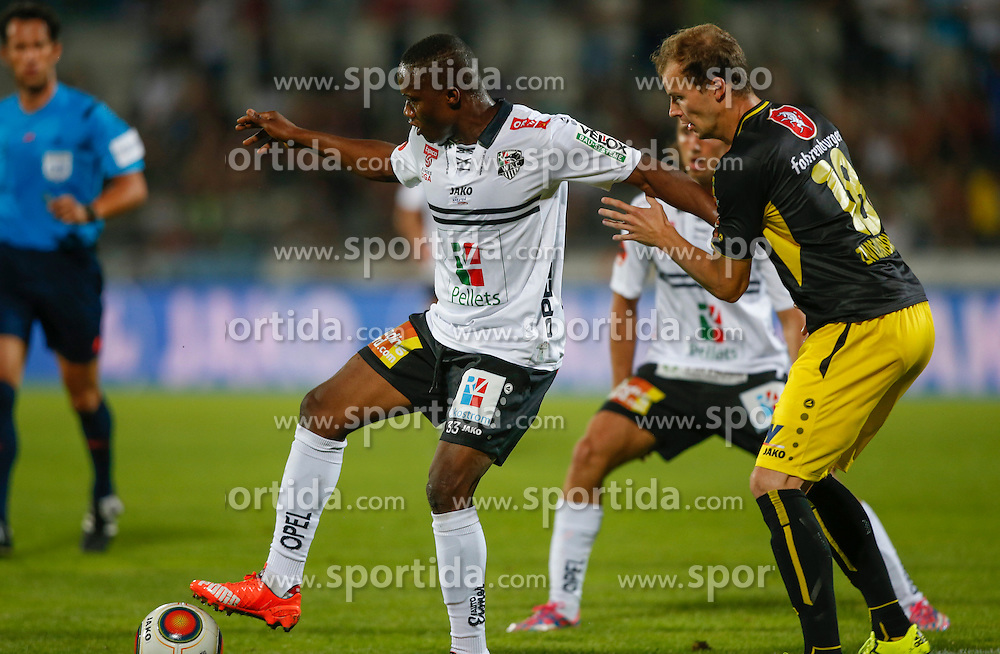 30.08.2015, Lavanttal Arena, Wolfsberg, AUT, 1. FBL, RZ Pellets WAC vs Cashpoint SCR Altach, 7. Runde, im Bild v.l. Issiaka Ouedraogo (RZ Pellets WAC) und Jan Zwischenbrugger (SCR Altach) // during the Austrian Football Bundesliga 7th Round match between RZ Pellets WAC and Cashpoint SCR Altach at the Lavanttal Arena in Wolfsberg Austria on 2015/08/30, EXPA Pictures © 2015, PhotoCredit: EXPA/ Wolfgang Jannach