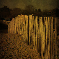Wooden fence on sand dunes at Walberswick, Suffolk, England