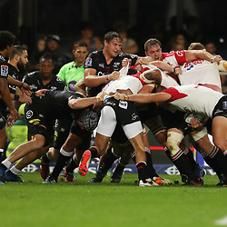 Etienne Oosthuizen of the Cell C Sharks during the Vodacom Super Rugby match between the Cell C Sharks and the Emirates Lions the at Growthpoint Kings Park in Durban, South Africa. 15th July 2017(Photo by Steve Haag)