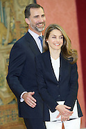 061713 prince felipe and princess letizia meeting at el pardo palace